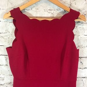 LOFT red scallop neck sleeveless petite dress